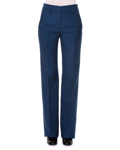 Valfredo Flat-Front Gabardine Pants, Medium Blue