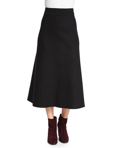 High-Waist A-Line Midi Skirt, Black