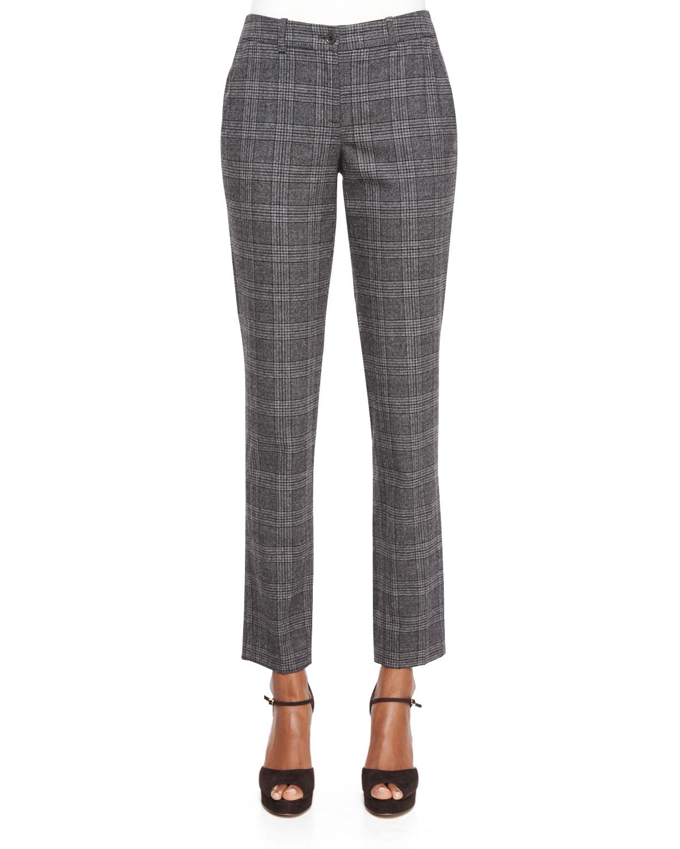 Slim-Leg Plaid Flannel Pants, Slate Multi