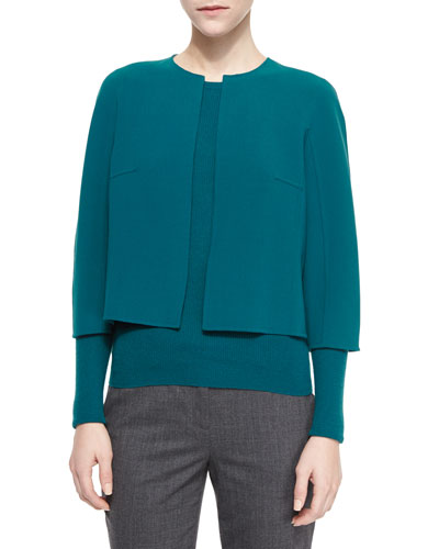 Cropped Stretch-Wool Crewneck Jacket, Peacock