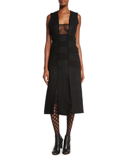Sleeveless Textured-Panel Dress, Black