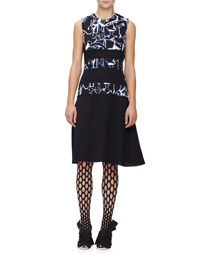 Sleeveless Scribble-Print Dress, Black/Indigo Shattered
