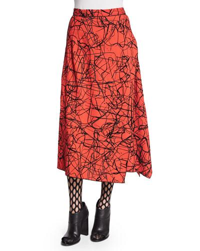Scribble-Print Flared Skirt, Crimson/Black