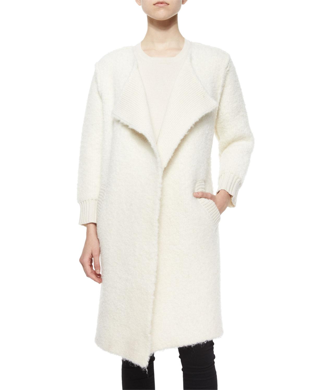 Natural Boucle Alpaca-Blend Topper Coat