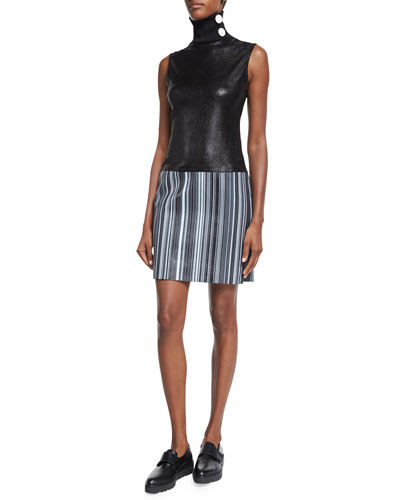 Sleeveless Turtleneck Leather Dress, Black