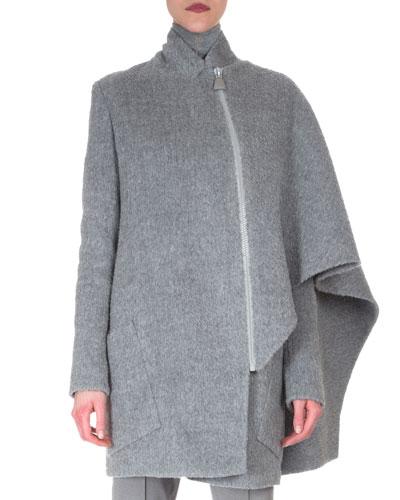 Asymmetric Draped Cape Jacket