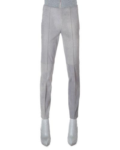 Melissa Stretch Flannel Pleated Slim Pants, Quartzite