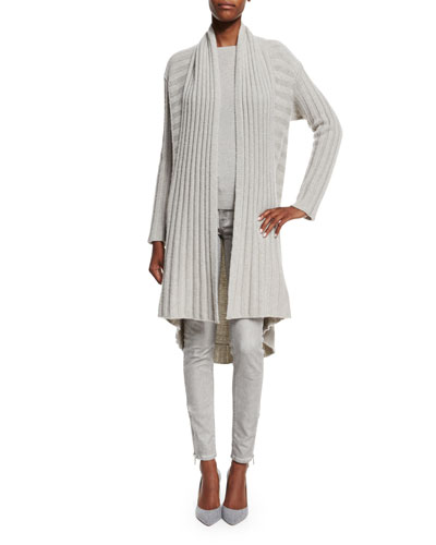 Open-Front Cashmere Cardigan, Light Gray Melange
