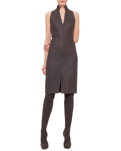 Glen Plaid Zip-Front Sheath Dress