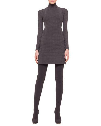 Sleeveless Jewel-Neck Cross-Stitch Dress, Granite
