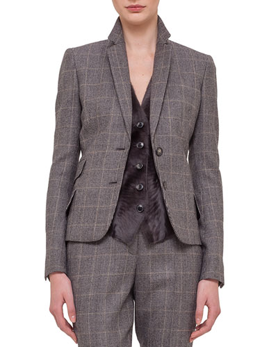 Fine Windowpane Check Cashmere-Blend Blazer