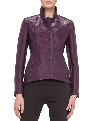 Metallic Stand-Collar Arched Jacket