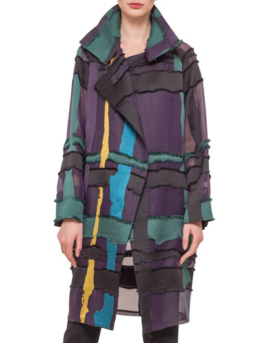 Glen Plaid & Fringed Satin Jacquard Coat