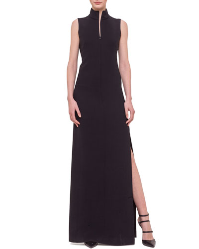 Sleeveless Fringe-Back Gown, Black