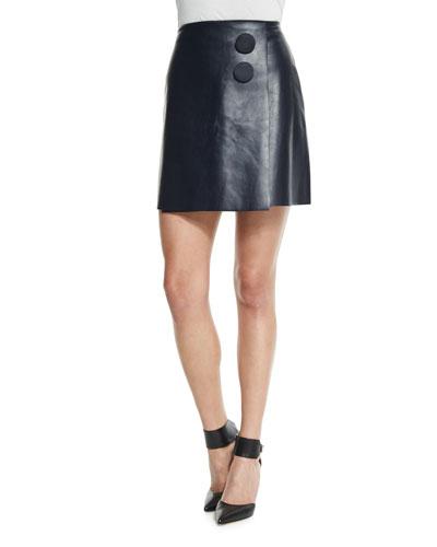 A-Line Leather Mini Wrap Skirt, Navy