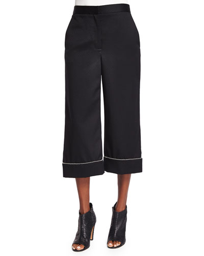 Ball & Chain Cuff Wide-Leg Cropped Pants, Black