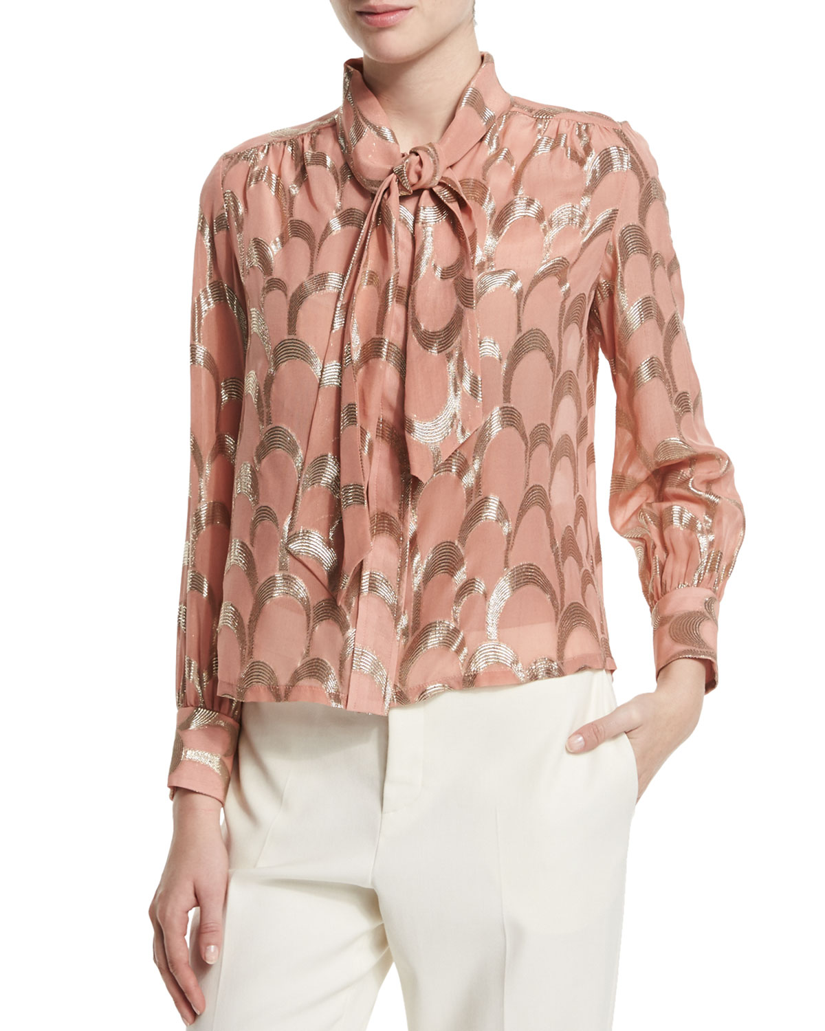 Long-Sleeve Metallic-Applique Blouse, Pink/Gold