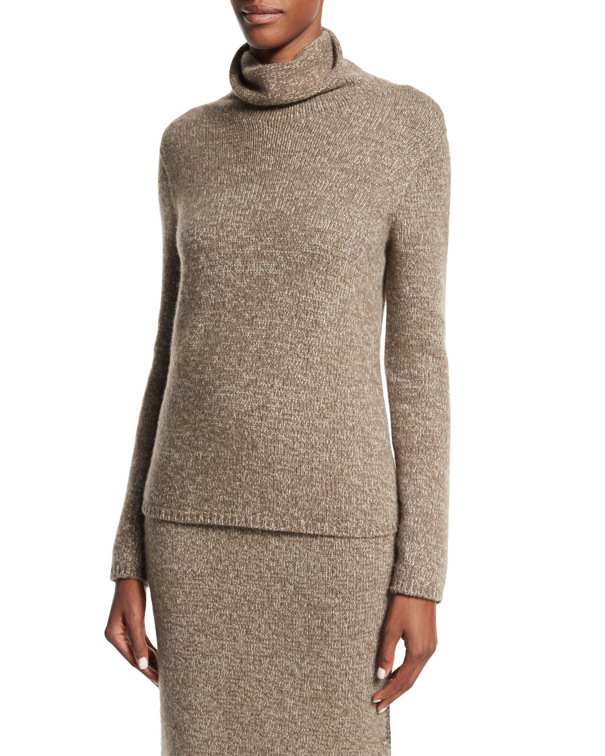 Long-Sleeve Cashmere Sweater, Truffle