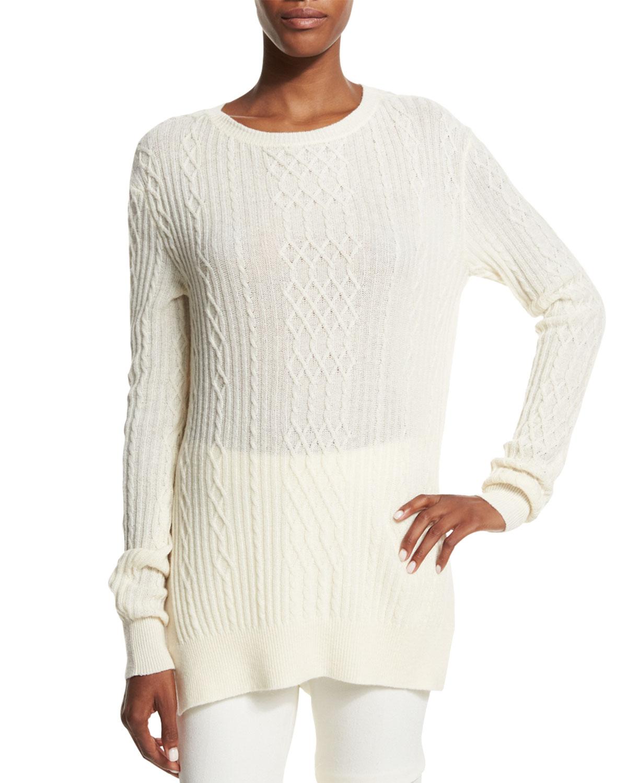 Open-Weave Cashmere Tunic Sweater, Cream