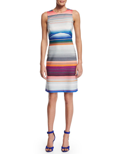 Striped Sheath Dress W/Cutout, Gray Multi Bright