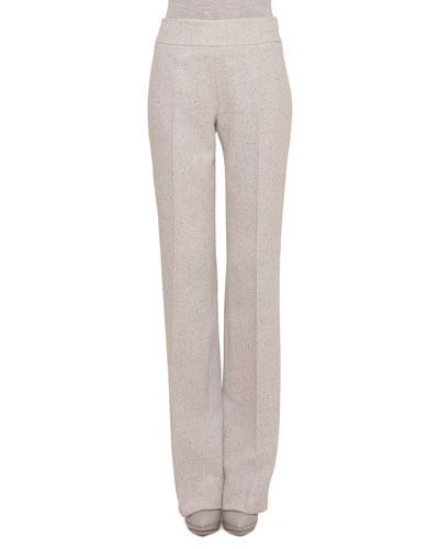 Carla Tweed Wide-Leg Pants, Gravel