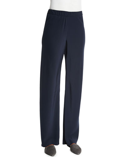 High-Waist Straight-Leg Pants, Navy