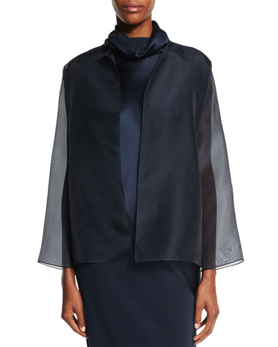 Organza Open-Front Jacket, Navy