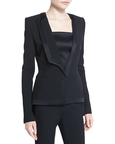 Satin-Trim Tuxedo Jacket, Black