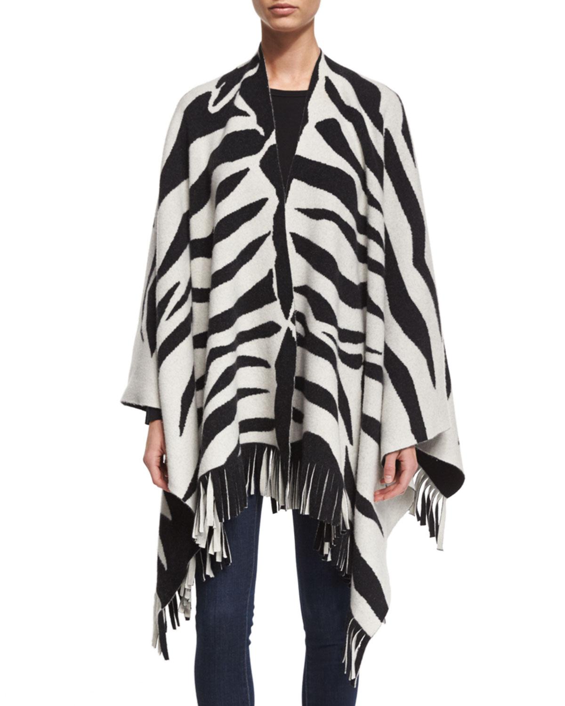 Zebra-Print Fringe-Hem Poncho, White/Black