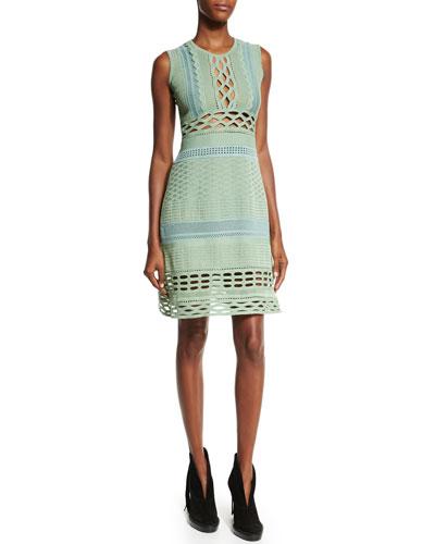 Sleeveless Cutout Sheath Dress, Celadon/Green