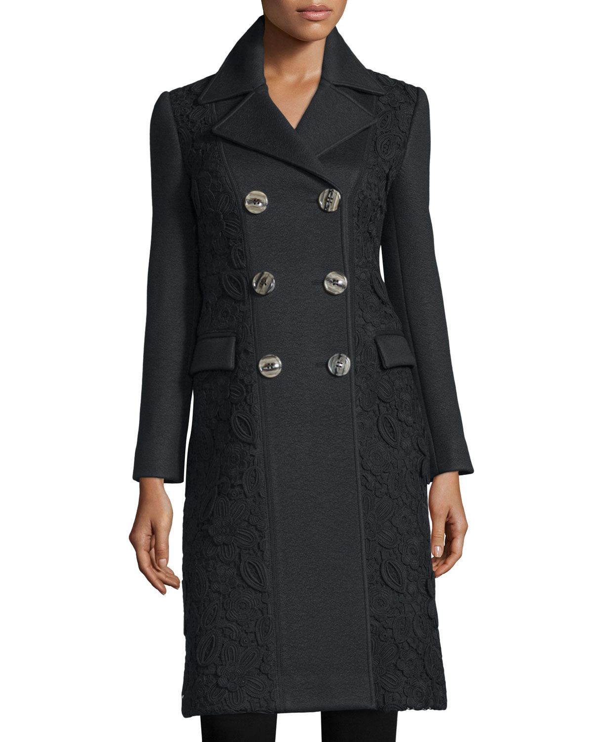 Double-Breasted Macrame & Lace Trench Coat, Black
