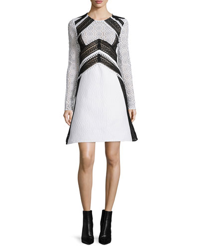 Long-Sleeve Two-Tone Fit-&-Flare Dress, White
