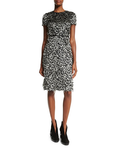 Ocelot Short-Sleeve Animal-Print Feathered Dress