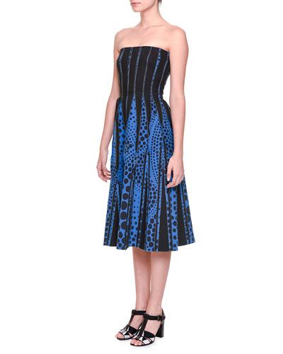 Strapless Midi Dress w/ Inverted Seams, Blue/Bright Black