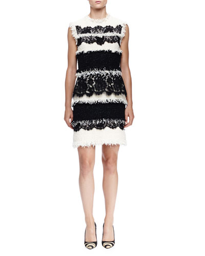 Fringe & Lace Paneled Sheath Dress, Ivory