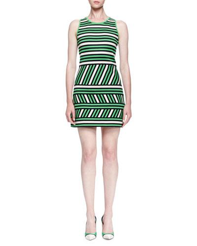 Mixed-Stripe Linen-Blend Mini Dress
