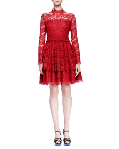 Floral Lace-Tiered Fit-And-Flare Dress