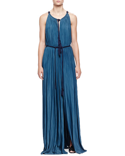 Tassel Drawstring-Neck Slit Maxi Dress, Ocean Blue