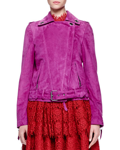 Grommet-Detailed Suede Jacket, Magenta