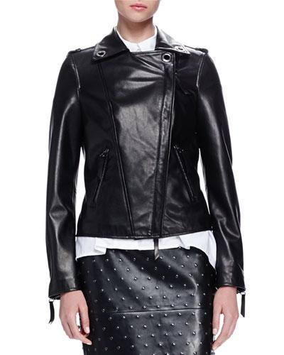 Grommet-Detailed Leather Jacket