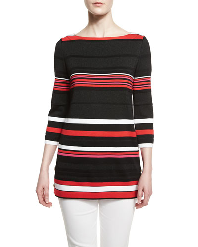 Salins Striped Knit Bateau-Neck Tunic