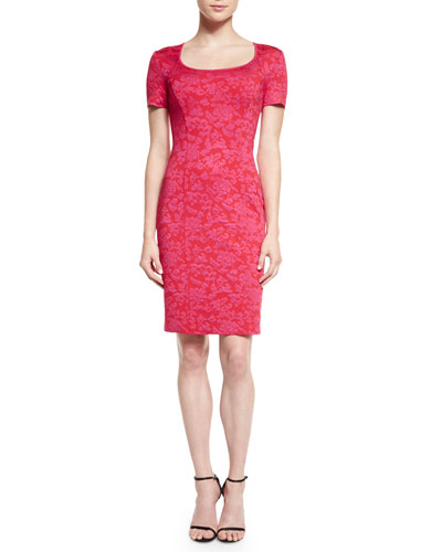 Chateau Floral Knit Dress, Granita/Cerise