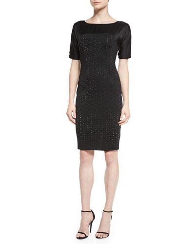 Milano Knit Sequined Satin-Yoke Dress