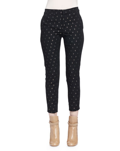 Metallic Diamond-Pattern Skinny Ankle Pants