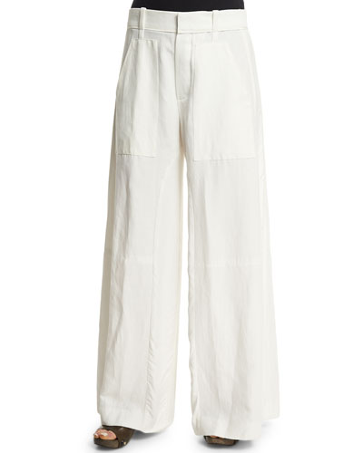 Textured Wide-Leg Pants, Milk