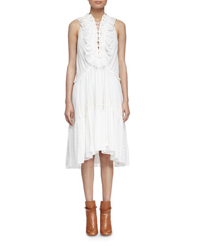 Embroidered Tiered Ruffled Dress, Milk