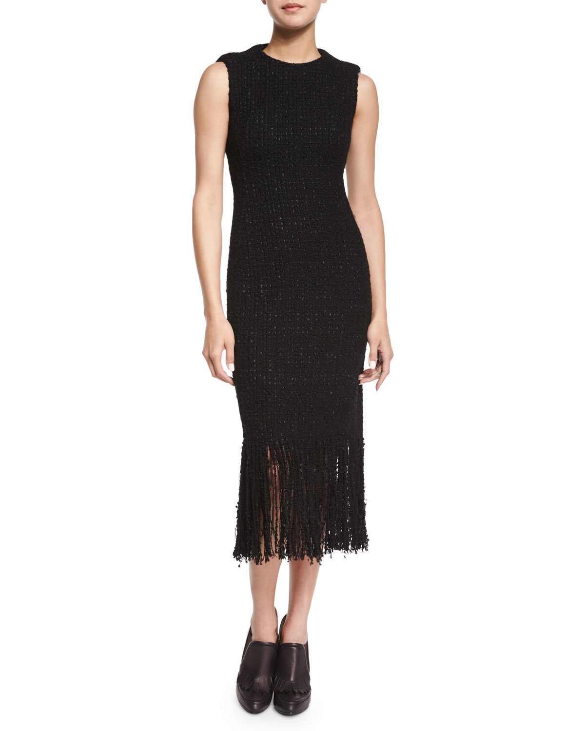 SL FRINGE HEM SHEATH DRESS