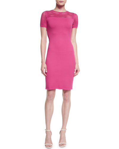 Matte Crepe Knit Short-Sleeve Sheath Dress, Cerise