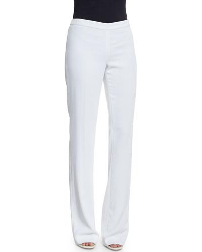 Jennifer Fit Classic Cady Boot-Cut Pants, Bianco