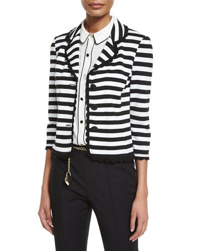 Striped Milano Knit 3/4-Sleeve Jacket